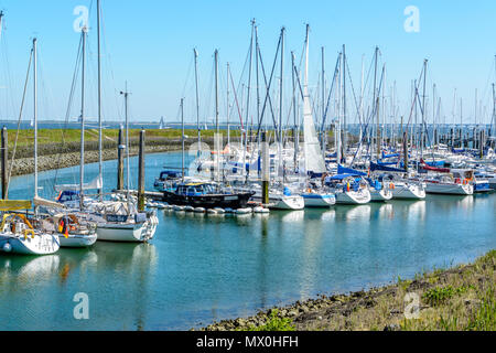 Marina in Colijnsplaat at th bridge over the oosterschelde - Stock Image