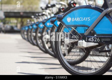Barclays Boris Bikes, London, England, UK - Stock Image