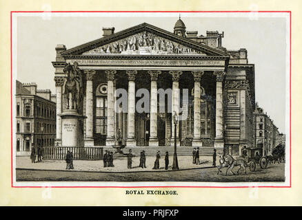 The Royal Exchange, 1883 high quality steel engraving of the building, opened in 1844, which housed Lloyds insurance market and other merchants in the centre of the City opposite the Bank of England with a statue of the Duke of Wellington in front - Stock Image