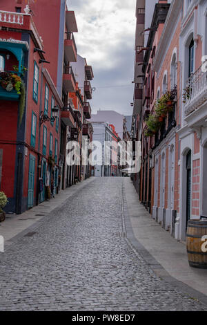 Quiet street in Santa Cruz de La Palma, the captial city of La Palma Island, Canaries - Stock Image