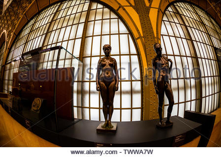 Sculptures,Musee d'Orsay,  a museum in Paris, France, on the Left Bank of the Seine. It is housed in the former Gare d'Orsay, a Beaux-Arts railway sta - Stock Image