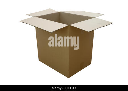 Open cardboard box Cardboard boxes isolated on white - Stock Image