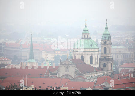Saint Nicholas' Church in Mala Strana viewed from Petrin Hill in Prague, Czech Republic. - Stock Image
