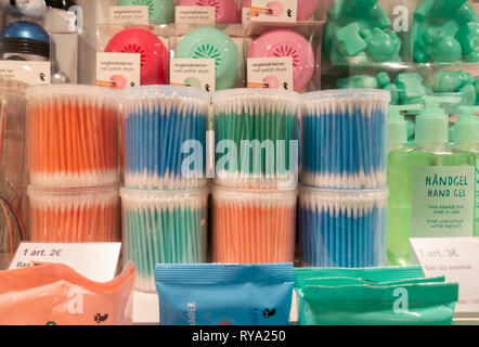 Cotton buds in Flying Tiger shop - Stock Image