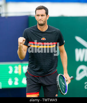Eastbourne, UK. 23rd June 2019.  James Ward of Great Britain reacts after winning a point against Denis Kudla of USA during their match at the Nature Valley International tennis tournament held at Devonshire Park in Eastbourne . Credit : Simon Dack / TPI / Alamy Live News - Stock Image