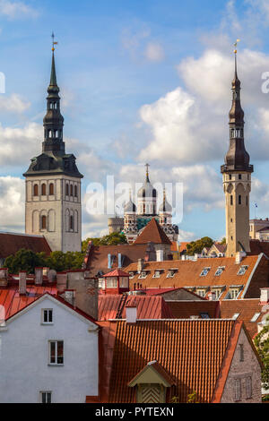 Skyline of Tallinn in Estonia. The three churches are, St Nicholas Church, Alexander Nevsky Cathedral and the Church of the Holy Spirit. - Stock Image