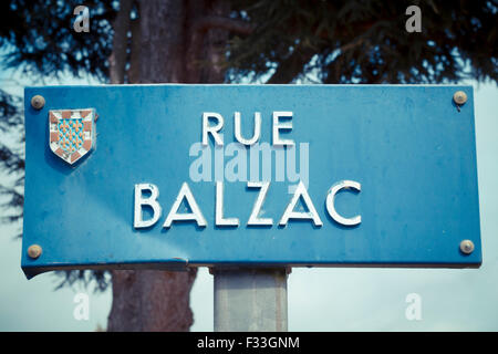 A sign for Rue Balzac. - Stock Image