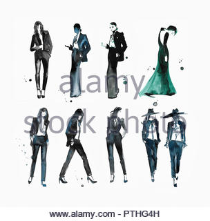 Woman in evening gown standing out among fashion models wearing trousers - Stock Image