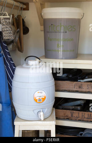 Plastic fermentation bin and pressure barrel for home brew beer real ale, England, UK - Stock Image