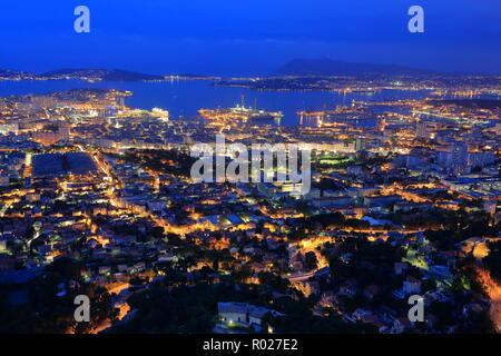 Top view of Toulon at night, Var, 83, PACA - Stock Image