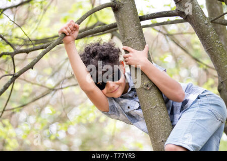 Cute young boy with curly dark hair wearing a mask climbing a tree peering around a big branch with a cheeky grin - Stock Image