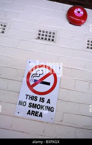 No Smoking sign near fire alarm bell - Stock Image