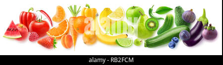 Isolated fruits in a line. Rainbow made of fresh fruits and vegetables isolated on white background with clipping path - Stock Image