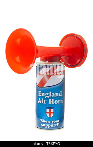 England Football Supporters Air Horn, Powered by compressed air in a can - Stock Image