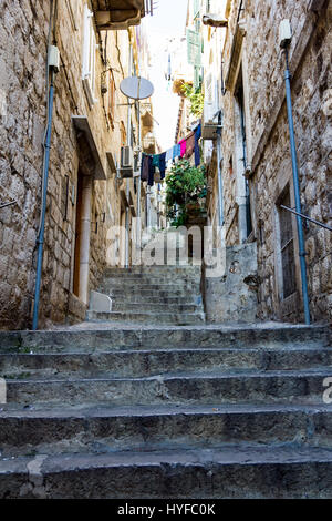 Stone stairway in the old city in Dubrovnik - Stock Image