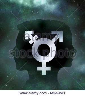 Back to back male and female profiles with transgender symbol - Stock Image
