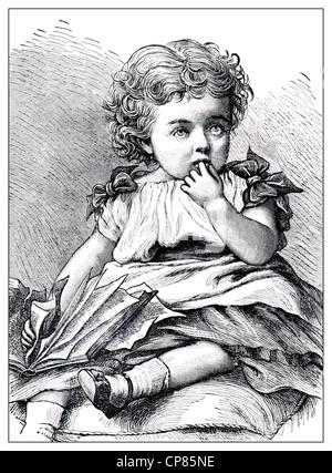 Little girl, historic engraving from 19th Century, Kleines Mädchen, historischer Stich aus dem 19. Jahrhundert - Stock Image