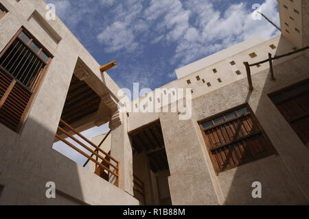 View from the interior courtyard of the Al Alawi House, located on the Pearl Trail, Muharraq, Kingdom of Bahrain - Stock Image