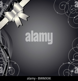 Gift background with silver bow and ornament - Stock Image