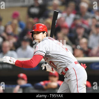 Los Angeles Angels designated hitter Shohei Ohtani hits a single in the eighth inning during the Major League Baseball game against the Minnesota Twins at Target Field in Minneapolis, Minnesota, United States, May 14, 2019. Credit: AFLO/Alamy Live News - Stock Image