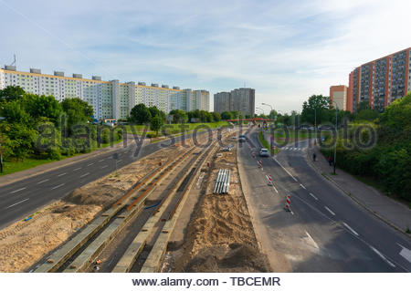 Poznan, Poland - May 24, 2019: Zegrze road with a - Stock Image