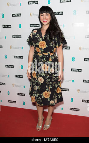 Guests attend event as fashion and beauty title throws annual party to celebrate the EE British Academy Film Awards - Stock Image
