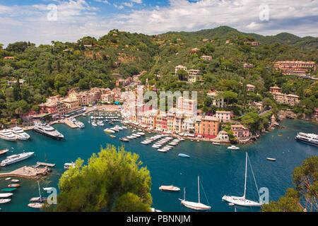 Panorama of Portofino, Italian Riviera, Liguria - Stock Image