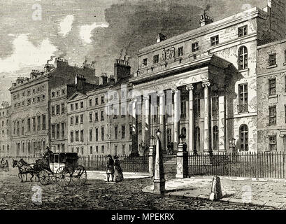 Royal College of Surgeons Lincoln's Inn Fields London England UK. 19th century Victorian engraving circa 1878 - Stock Image