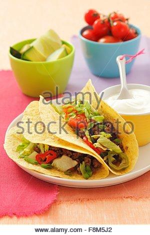 Beef, tomato and black bean burritos - Stock Image
