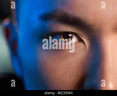 close up of asian male face - Stock Image