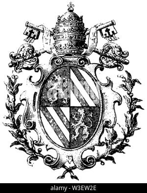 Coat of arms of the papal chair, ,  (cultural history book, 1875) - Stock Image