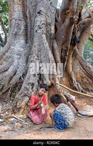 Children playing near the roots of a banyan tree in Pindaya, Shan, Myanmar - Stock Image