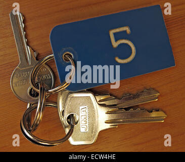 Bunch of keys for Room number 5 - Stock Image