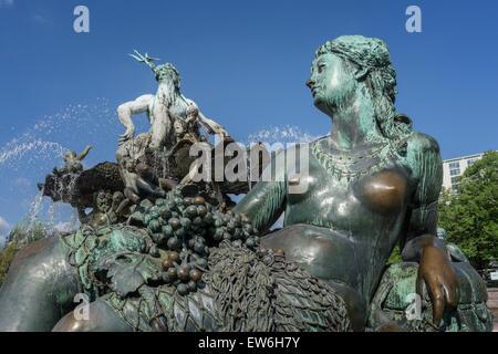 Fountain of Neptune, Alexanderplatz, Berlin - Stock Image