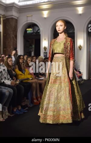 London, UK. 15 September 2018. SamDada at Fashion International in Amba hotel during London Fashion Week. Credit:Marcin Libera Credit: Marcin Libera/Alamy Live News - Stock Image