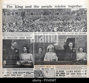 Second World War WWII Royal Family with King George VI & Queen & daughters Elizabeth, Margaret greet crowd at end of war after VE Day on 9 May 1945 - Stock Image