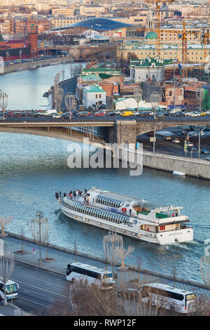 Cityscape, Tourist ship on Moskva river, Moscow, Russia - Stock Image
