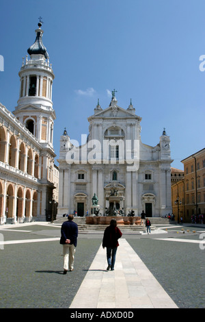 Piazz and Loggias of the great Basilica of Loreto in Le Marche, Italy - Stock Image