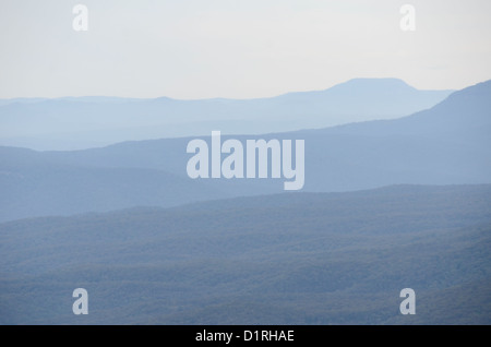 KATOOMBA, Australia - Layers of ridges in the Blue Mountains as seen from Echo Point in Katoomba, New South Wales, - Stock Image