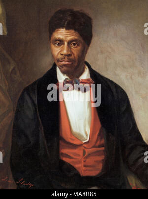 Dred Scott (c. 1799 - September 17, 1858) was an enslaved African American man in the United States who unsuccessfully sued for his freedom. Oil on canvas by Louis Schultze, 1888 - Stock Image