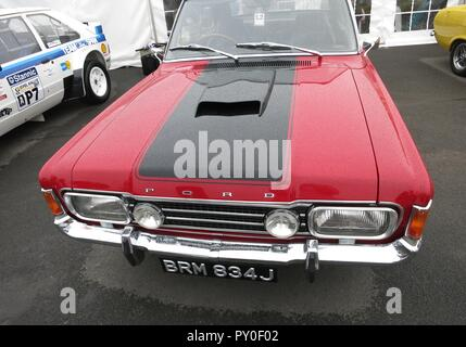 Ford Classic cars on show at the RS OWNERS CLUB National day at donnington park race circuit - Stock Image