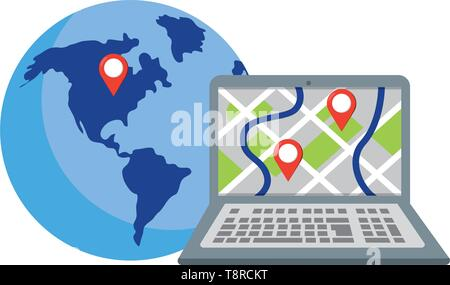 laptop showing map with location pointers and globe vector illustration graphic design - Stock Image