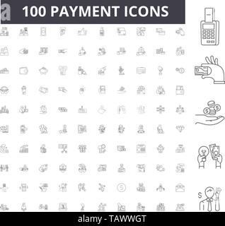 Payment line icons, signs, vector set, outline illustration concept  - Stock Image