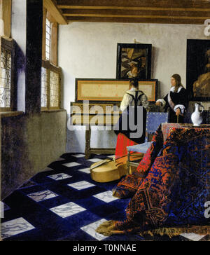 Johannes Vermeer, Lady at the Virginal with a Gentleman, The Music Lesson, painting, c. 1662 - Stock Image