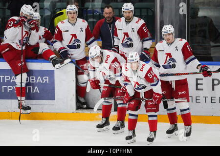 St Petersburg, Russia. 21st Mar, 2019. ST PETERSBURG, RUSSIA - MARCH 21, 2019: HC Lokomotiv Yaroslavl's players upset after losing Leg 5 of their 2018/19 KHL Western Conference semi-final playoff tie against HC SKA St Petersburg, at the Ledovy Dvorets arena. Alexander Demianchuk/TASS Credit: ITAR-TASS News Agency/Alamy Live News - Stock Image