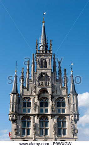 Gouda The Netherlands Het Oude Stadhuys / Stadhuis, Town hall, gothic style on the Markt dating from 1459. - Stock Image