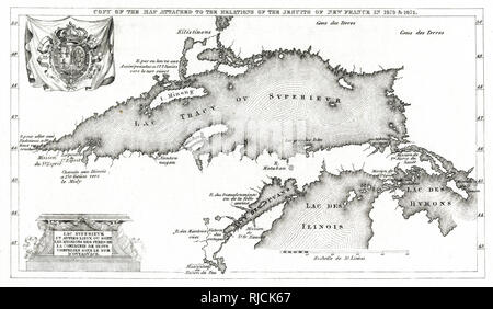Map of New France, all Jesuit French settlements around Lake Superior, Lake Huron, and Lake Illinois in 1670-1671. - Stock Image