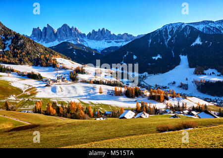 panoramic view of St. Maddalena village, Dolomites, Italy - Stock Image