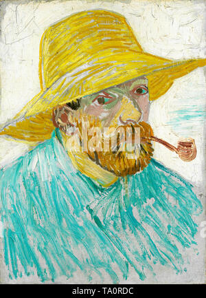 Vincent van Gogh, Self-Portrait with Pipe and Straw Hat, 1887 - Stock Image