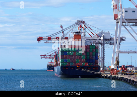 Container ships at port - Stock Image